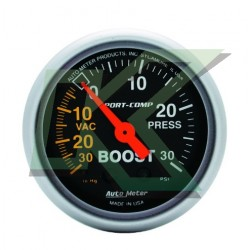 "Medidor Presion Turbo (boost 30psi) Sport-Comp/autometer  2-1/16"" (52.4mm)"