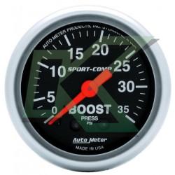 "Medidor Presion Turbo (boost 35psi) Sport-Comp/autometer 2-1/16"" (52.4mm)"