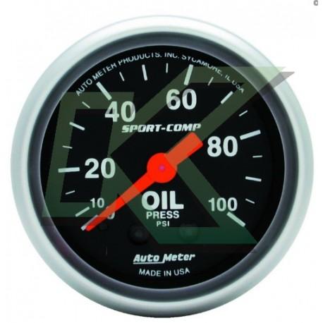 """Medidor de presion de aceite Sport-comp/Autometer 2-1/16"""" (52.4mm)"""