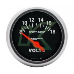 """Medidor De Voltimetro Sport-Comp/autometer 2-1/16"""" (52.4mm)"""