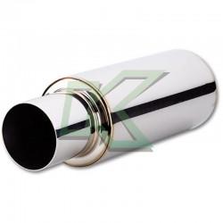 """Muffler cromado de 2.5"""" cilíndrico salida recta Vibrant / TPV"""