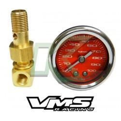Reloj De Presion De Bencina Vms / 0-100psi - Color Rojo