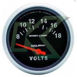"""Medidor De Voltimetro Sport-Comp/autometer 2-5/8"""" (67mm)"""