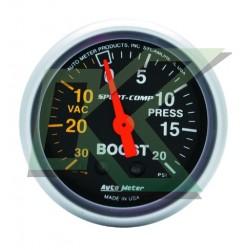 "Medidor Presion Turbo (boost 20psi) Sport-Comp/autometer  2-1/16"" (52.4mm)"