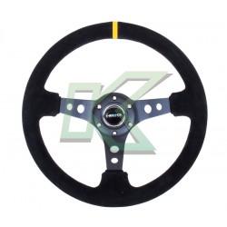 """Volante deportivo de cuero negro Concavo 3"""" Nr-G 350mm"""