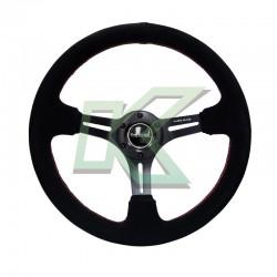 Volante deportivo gamuza negro concavo /  NR-G 350mm
