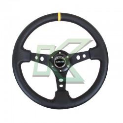 """Volante deportivo de cuero negro/amarillo concavo 3"""" / NR-G 350mm"""