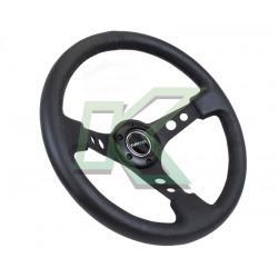 """Volante deportivo de cuero negro concavo 3"""" / Nr-G 350mm"""