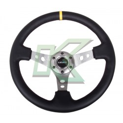 "Volante deportivo de cuero negro fondo grafito concavo 3"" / Nr-G 350mm"